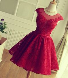 Cap sleeves Red Short Lace Prom dress,A-line Homecoming dress 2016,FS1739
