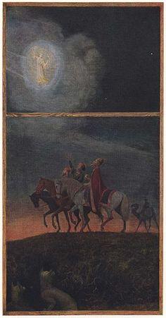 Hans Thoma, The three wise man Hans Thoma, Caspar David Friedrich, Expressionist Artists, Three Wise Men, Biblical Art, Impressionist, Savior, Jesus Christ, Mythology