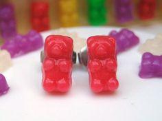 Handmade Polymer Clay Gummy Bear Earrings in by LittleWooStudio, $24.95