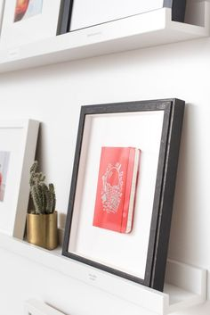 Create a rotating display. Install a ledge, and switch out your frames and decorative objects when you please.