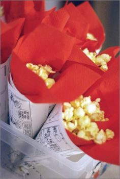 Popcorn cones with comic paper