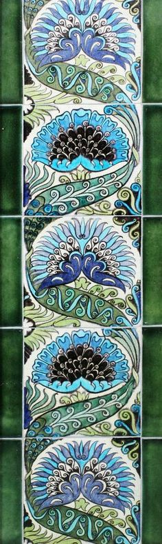 William De Morgan 'Mongolian' pattern five tile panel Circa 1890