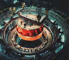 A Francis turbine runner, rated at nearly one million hp , being installed at the Grand Coulee Dam, United States public domain Francis Turbine, Grand Coulee Dam, Water Turbine, Hydroelectric Power, Surface Modeling, Arc Reactor, Energy Industry, Picture Captions, One In A Million