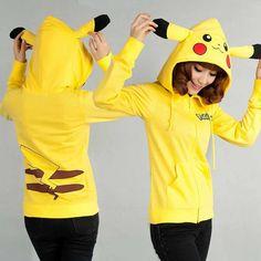 Adult Pikachu Pokemon Zips Costume Anime Ear Hoodie Coat Jackets Sweater Cosplay in Clothing, Shoes & Accessories, Women's Clothing, Sweats & Hoodies | eBay