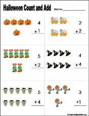 Math - Halloween - Count & Add (Vertical) Worksheet - Kindergarten - Grade 1