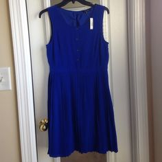 Cobalt blue accordion pleat dress Absolutely gorgeous button front silk dress. Color is stunning and works for all seasons. Fully lined with side zipper closure. Length 35 in. Second pic shows actual color Madewell Dresses