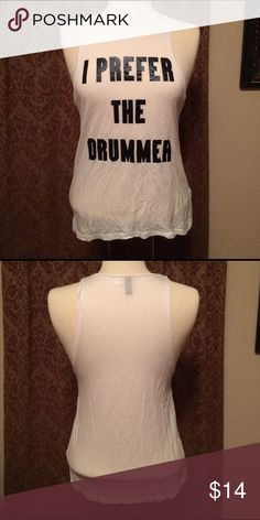 """H&M Divided I Prefer the Drummer Tank Sz 4 H&M Divided white tank top """"I Prefer the Drummer"""" on front. Size 4. In great condition - has some wrinkles. H&M Divided Tops Tank Tops"""