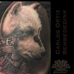 59cd03494 Wolf tattoo by carlos ortiz Chicago area tattoo bio mechanical Chicago  Area, Wolf Tattoos,