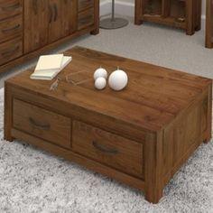 Grand-walnut-wood-furniture-coffee-table-four-drawer-storage-large-rectangular-0