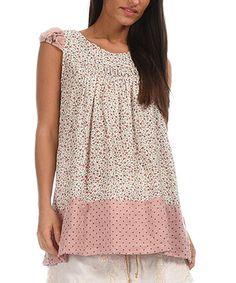 Look at this #zulilyfind! Off-White & Pink Floral Cap-Sleeve Tunic by Ian Mosh #zulilyfinds