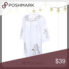 BOGO 1/2 OFF Monoreno Boho Tunic Top ‼️IT'S HERE‼️ Boho chic button down tunic top with floral print and 3/4 length sleeves...pair with skinny jeans, leggings or frayed cut off jean shorts for an effortless Fabulous look! Brand: Monoreno (One of Poshmark's Wholesale Companies) Size: Small, Medium & Large (quantities are extremely limited!) Measurements: to come Condition: brand new Monoreno Tops Tunics