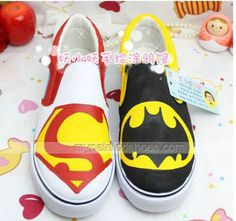 Superman and Batman Hand Painted Canvas Hand Painted Canvas Wome,Slip-on Painted Canvas Shoes