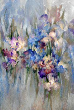 Embrace Art Studio and Gallery Australia Antique Irises on Silver