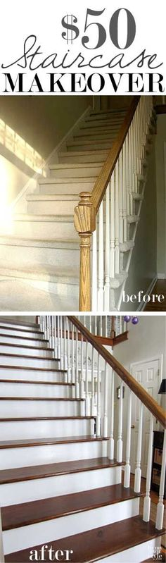 Update a carpeted staircase to stained steps and white painted risers for only $50 - YES! It can be done! Step-by-step photo tutorial shows you how. DIY Home Improvement
