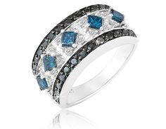 4/18/2012 Mother's Day Flash Deals  $249.99  + FREE SHIPPING 1.25 Carat White, Black and Blue Diamond Ring in Sterling Silver