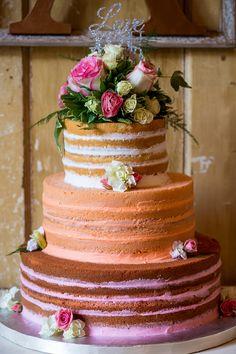 Pretty Naked Cake with Pastel Layers|{Navy & Pink} & Wonderfully Fabulous Vintage Wedding|Photographer:  Jennifer Weems Photography