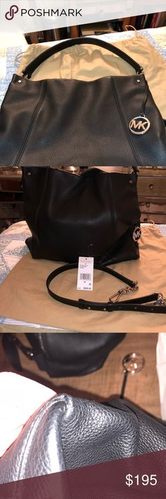 MICHAEL Michael Kors Lex Large Convertible Hobo MICHAEL Michael Kors Lex Large Convertible Hobo Black Beautiful large snap too 2 side pockets zip side pocket key strap 12x13x4 Retail 368 A great deal at this price Minimal wear on bottom and handle see pics Michael Kors Bags Hobos