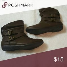 Booties Brown slouched booties with buckles. Never worn. Joe boxer Shoes Ankle Boots & Booties