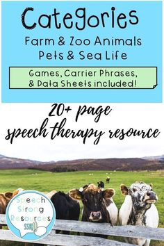 This fun, simple category activity packet for speech therapy addresses identification, naming, sentence productions, and descriptive vocabulary. Motivate your learners through cut/paste, games, and puzzles. Additionally, you will receive carrier phrases a Speech Language Therapy, Speech And Language, Speech Pathology, Preschool Games, Speech Therapy Activities, Vocabulary Building, Puzzles, Therapy Ideas, Articulation Games