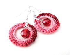 Romantic Red Crochet earrings by Beautifulcrochet on Etsy, $20.00