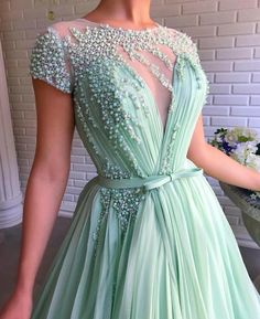 A-Line Mint Green Tulle Beaded Long Prom Dress with Sleeves,Formal Evening Gowns. Tulle Dress, Chiffon Dress, Dress Prom, Wedding Dress, Beaded Gown, Cheap Prom Dresses, Beautiful Dresses, Ball Gowns, Evening Dresses