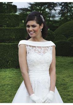 Scoop Tea Length Organza Ivory A Line Wedding Dress Wsi0103