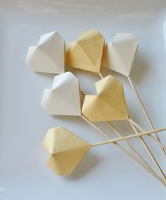 Origami Wedding Heart Cake Toppers.Cake picks.Handmade cake toppers.Origami heart.Paper heart.Paper cake toppers.Gold cake topper Origami Paper Art, Paper Crafts, Origami Box, Origami Ornaments, Origami Wedding, Metallic Paper, Gold Material, Table Centerpieces, Paper Goods