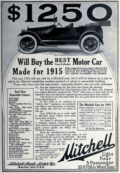Vintage Advert for Mitchell Motor Cars 1915 lol now the gas along costs that much!