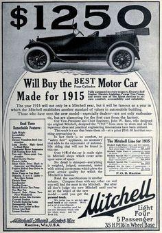 Vintage Mitchell Motor Cars Ad 1915