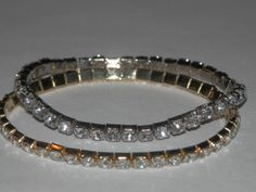 """These little bracelets will sparkle like crazy on your wrist! You get a set of 2, one in silver-tone and 1 in gold-tone. Wear both or just one. They are stretch to fit and do fit 7 inch wrists or smaller. They fit snug to the wrist. Great for our young girls who are in """"training"""" for bling bling! Get more than 1 set and stack 'em!!"""