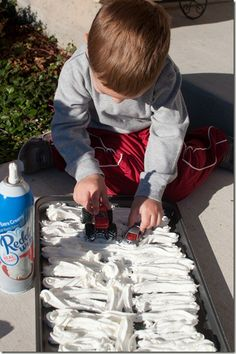 "Play in the ""snow"" using whipped cream. I plan to read Lauren Thompson's ""Polar Bear Night"" and let them play with toy polar bears. Using whipped cream means you don't have to worry if the little ones eat the snow."
