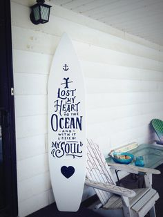 6 foot wood white surfboard wall hanging by SerendipitySurfShop Quote: I lost my heart to the ocean and with it a piece of my soul.