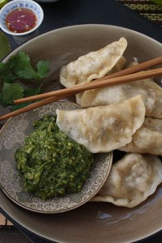 "Tibetan steamed ""momos"" (dumplings), readily available in Tibet and in Nepal (from the Tibetan diaspora)."