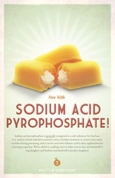 What's in your food? Sodium Acid Pyrophosphate. Twinkies and what else? These educational posters imitate post war food advertisements and highlight the disturbing ingredients (and their surprising uses) found in common items found all over the supermarket.