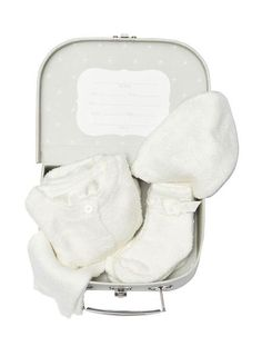 """Coming home from the hospital just got sweeter with Barefoot Dream's baby's First Suitcase ensemble!  This is every newborns """"must have"""" when it comes to being enveloped in super soft luxurious coziness for their first trip home. Each suitcase ensemble includes a CozyChic Lite cardigan, pull on pant, beanie and 3 pai One Suitcase, Barefoot Dreams, Dream Baby, Baby Socks, Baby Skin, Pull On Pants, Coming Home, Keepsake Boxes, Newborn Photos"""