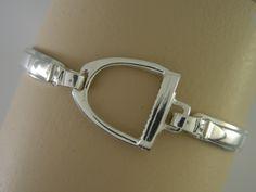 "Equestrian Bracelets Stirrup Bangle | Loriece.com Stirrup Bangle bracelet in sterling silver. 3/4"" wide. Available in Sterling Silver, 14kt Gold, 18kt Gold or Platinum"