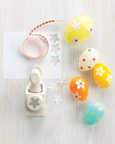 Easy Easter egg decorating with craft punches, those silly hole reenforcers, and scrapbook stickers