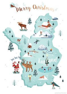 Illustrated map of Lapland/Sápmi. Christmas card with traditional decorations. Winter scene of Utrecht. Travel Illustration, Christmas Illustration, Christmas Design, Christmas Art, Travel Maps, Travel Posters, Plan Ville, Christmas Poster, Map Design