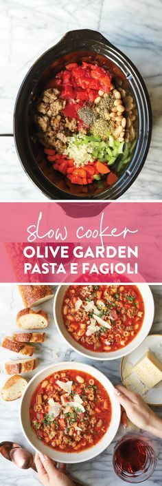 Slow Cooker Pasta, Slow Cooker Recipes, Crockpot Recipes, Soup Recipes, Cooking Recipes, Slow Cooking, Copycat Recipes, Cooking Ideas, Pasta Fagioli