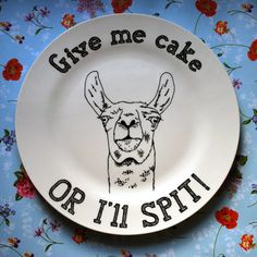 Hand Drawn Plate - Cake Hungry Llama