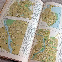 Map USSR highways Vintage atlas Soviet roads Retro maps