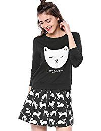 New Allegra K Women's Cat Prints Round Neck Long Sleeves Lightweight Sweatshirt online. Find the perfect ZXZY Tops-Tees from top store. Sku WRGY23250BOTW45221