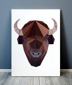Pretty contemporary Animal decor. Gorgeous Wildlife print for your home and office. Adorable Geometry print. Amazing Buffalo poster. SIZES: A4