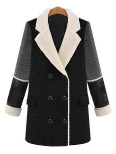 Shop Black Double Breasted Lapel Woolen Pea Coat from choies.com .Free shipping Worldwide.$64.79