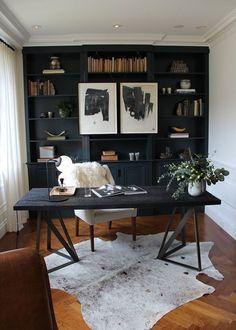 Postbox Designs Interior E-Design: Home Office Design with Navy Shelves, Study Decor via Online Interior Design, image via SF Designer Showcase/Brittany Haines