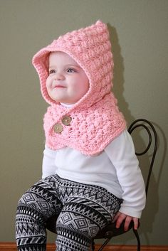 Craft Passions: Textured Toddler Hood free crochet pattern For pattern I used one skein of Big Twist Chunky Bubble Gum. Extra materials needed: 2 buttons.Textured Toddler Hood FREE Crochet Pattern Ravelry: Textured Toddler Hood pattern by Ochre Pome, Crochet Toddler, Crochet Baby Clothes, Crochet Baby Hats, Cute Crochet, Crochet For Kids, Baby Knitting, Knit Crochet, Crochet Headbands, Crochet Hooded Scarf