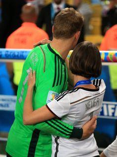 German goalkeeper Manuel Neuer with his girlfriend. World Champion 2014.