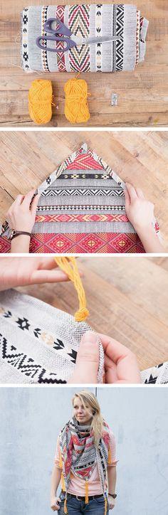 #Tutoriel #couture : Fabriquez en quelques coups d'aiguilles un beau foulard #ethnique de mi-saison ! Couture Sewing, Bag Accessories, Crochet Necklace, Etsy, Patterns, Model, Sew, Cowls, Sewing Projects
