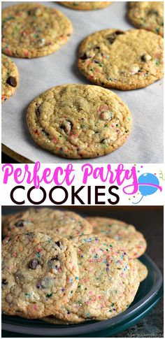 These Perfect Party Cookies start with a cake mix and are full of chocolate chips and sprinkles. Mix up the colors to suit whatever type of party you're having! | Persnickety Plates