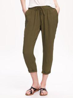 Mid-Rise Drapey Gauze Pants for Women Product Image